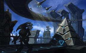 Обои город, робот, арт, пирамида, мегаполис