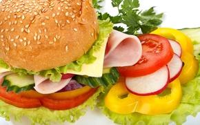 Обои перец, помидоры, овощи, булка, огурцы, кунжут, сыр, фаст фуд, fast food, ветчина, гамбургер, лук