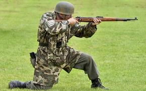 Картинка солдат, винтовка, немец, военная реконструкция, Kar.98k