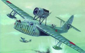 Картинка море, пламя, атака, дым, рисунок, корабль, взрывы, лодки, арт, летающие, Разведчик, Великая отечественная война, Второй, …