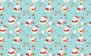 Обои шарики, луна, праздник, Дед Мороз, Новый год