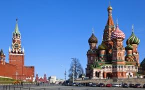 Картинка Russia, Moscow, Кремль, city, площадь, Россия, Собор Василия Блаженного, Москва, Kremlin