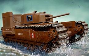 "Картинка war, art, ww2, tank.painting, Churchill Mk.III ""Fitted For Wading"""