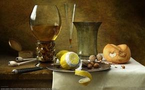 Обои орехи, натюрморт, лимон, бокал, Kornél Ravadits