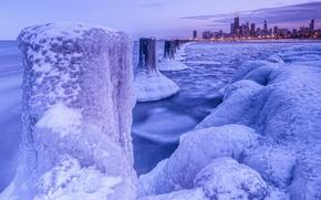 Картинка зима, лёд, мороз, Чикаго, ночной город, Chicago