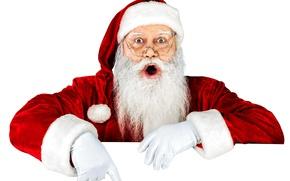 Картинка Очки, Новый Год, Шапка, Руки, Борода, Праздник, Дед Мороз, Старик, Санта-Клаус, Белый Фон, Перчатк