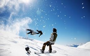 Картинка зима, небо, снег, сноуборд