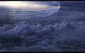 Картинка небо, облака, след, строй
