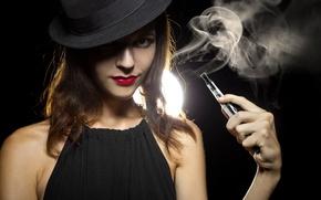 Картинка sexy, look, brunette, smoke