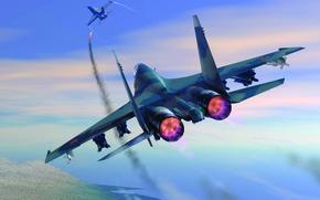 Обои Су-27, F-18, сбивает