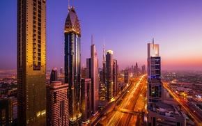 Картинка город, огни, дома, вечер, выдержка, Дубай, Dubai, ОАЭ, Автомагистраль имени шейха Заеда