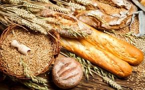 Картинка стол, выпечка, зерно, батоны, колоски, хлеб, пшеница, круглый, корзина, мешочки, колосья, ржаной