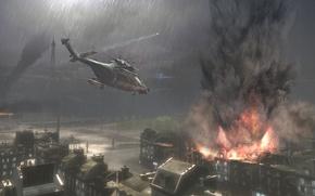 Обои здания, вертолет, дождь, взрывы