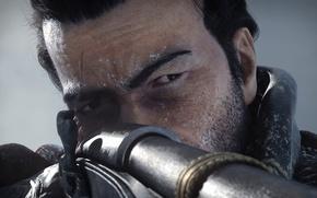 Картинка взгляд, лицо, винтовка, шрам, целится, Assassin's Creed, Rogue, Изгой, Шэй