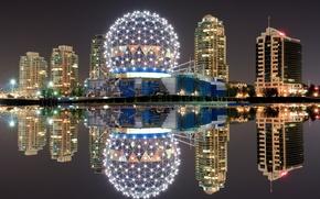 Картинка ночь, огни, отражение, Канада, Ванкувер