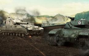 Картинка Франция, танк, Великобритания, танки, France, WoT, Мир танков, United Kingdom, tank, World of Tanks, tanks, ...