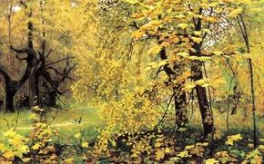 Картинка лес, пейзаж, природа, рисунок, картина, живопись, золотая осень, Остроухов, сороки