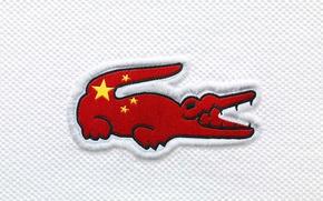 Картинка China, крокодил, флаг, Китай, Lacoste, flag
