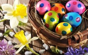 Картинка цветы, eggs, holiday, spring, flowers, happy, Пасха, яйца, Easter, wood, colorful, весна