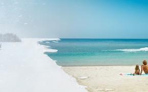 Обои лето, холод, снег, зима, жара, лыжник, песок, океан, отдыхающие