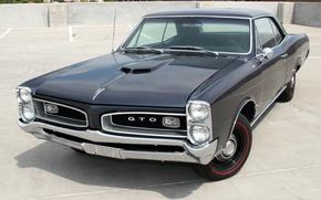 Картинка мускул кар, классика, Coupe, Pontiac, GTO, передок, 1966, понтиак, Tempest, Hardtop