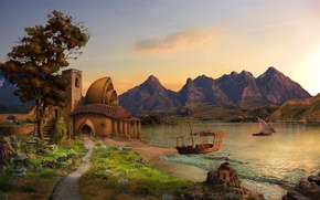 Картинка горы, озеро, дом, парусник, корабли, арт, max antonov
