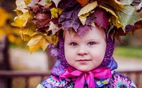 Картинка листья, ребенок, девочка