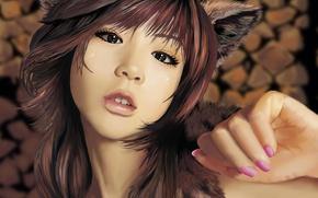 Картинка взгляд, Девушка, азиатка, ушки