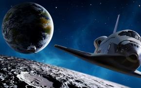 Картинка космос, земля, луна, шатл, endevour. звезды