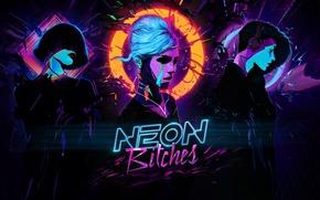 Картинка music, girl, neon, cyberpunk, bitch, bitches, synthwave