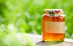 Обои боке, стол, мёд, баночка