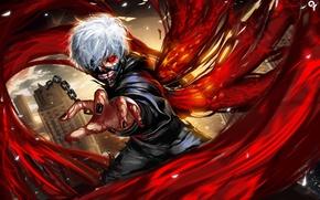Картинка взгляд, кровь, аниме, арт, цепь, Liang xing, Tokyo Ghoul, Kaneki Ken, Токийский Гуль