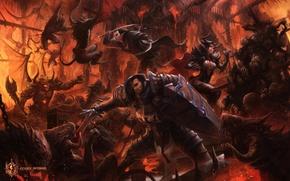 Обои тьма, меч, воин, битва, щит, демоны, art, codex infernus