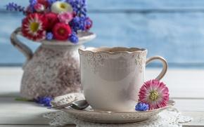Обои цветы, кофе, чашки