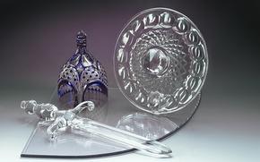 Картинка стекло, меч, хрусталь, шлем, щит, Гусь-Хрустальный, декоративная компазиция