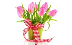 Картинка ваза, flowers, цветы, лента, букет, tulips, тюльпаны, pink, fresh