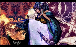 Картинка цветы, узоры, объятия, кимоно, двое, Блич, bleach, Kisuke Urahara, Shihouin Yoruichi