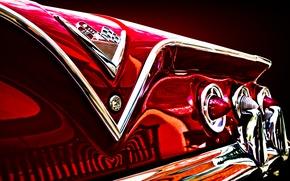 Картинка ретро, отражение, фары, Chevrolet, Шевроле, классика, impala, задние огни, хромированные детали