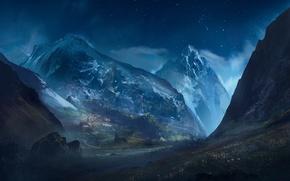 Обои горы, арт, звездное небо, город, ночь, скалы, звезды, пейзаж