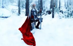 Обои Kindra Nikole, девушка, снег, меч, доспехи, Nimiane
