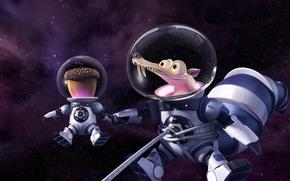 Обои sugoi, Scrat, constellations, cartoon, cosmonaut, Ice Age: Collision Course, subarashii, 20th Century Fox, pose, nuts, ...