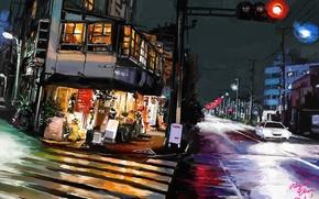 Картинка дорога, ночь, город, огни, Tokyo, art, Shitub52