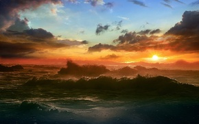 Обои море, солнце, облака, Волны