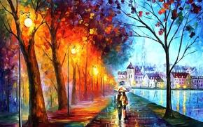 Картинка деревья, город, парк, река, зонтик, дождь, дома, зонт, арт, фонари, пара, парочка, leonid afremov