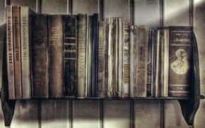 Картинка стена, доски, книги, обработка, полка