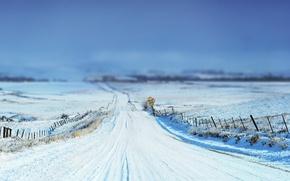 Картинка зима, дорога, небо, трава, снег, пейзаж, природа, знак, фокус, grass, road, sky, landscape, nature, sign, …