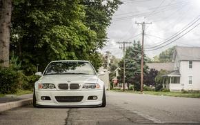 Картинка белый, улица, бмв, BMW, перед, white, tuning, E46