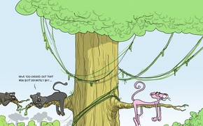 Обои юмор, карикатура, Wulffmorgenthaler, розовая пантера
