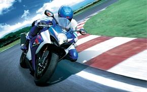 Картинка мотоцикл, поребрик, GSX-R, гонщик.гоночная трасса, superbike, гсикс-р, джиксер, поворот, наклон, сузуки, Suzuki, вираж, 1000, супербайк, ...