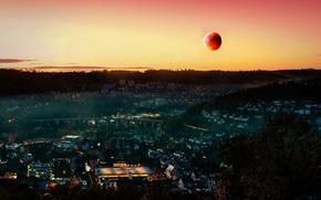 Картинка небо, ночь, город, огни, луна, фотограф, Moon, dawn, Full, B N